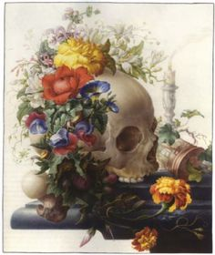Herman Henstenburgh • Vanitas still life, with a skull wreathed with flowers, and a candle and an hour glass on a stone ledge • Watercolor and Gouache w/gum arabic • 15.9 x 12.9 in. / 40.4 x 32.8 cm.