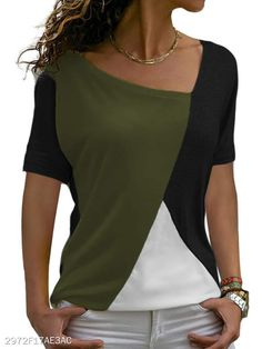 Asymmetric Neck Patchwork Color Block Short Sleeve T-Shirts Short Sleeve Collared Shirts, Baggy Shirts, Casual Shirts, Casual Outfits, Tee Shirts, Sweaters For Women, T Shirts For Women, Casual Tops For Women, Shirt Style