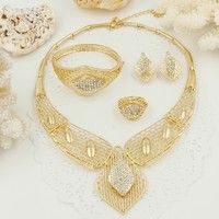 Wish |  2016 Big Necklace Earrings Ring Bangle Sets Fashion Dubai African 18K Gold Plated Jewelry Sets Set (Color: Gold)