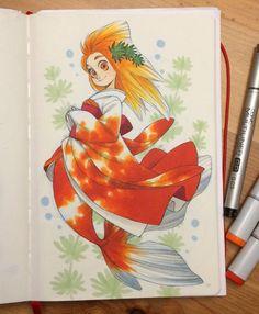 goldfish mermaid by Chihiro Howe #copic #markers
