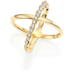 HEARTS ON FIRE Lorelei Diamond & 18K Yellow Gold Crisscross Ring (11,585 AED) ❤ liked on Polyvore featuring jewelry, rings, apparel & accessories, gold, criss cross ring, heart ring, 18k diamond ring, heart shaped diamond ring and heart diamond ring
