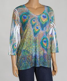 Look what I found on #zulily! Green & Pink Peacock V-Neck Top - Women & Plus by Citi Life #zulilyfinds