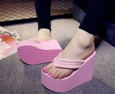 Flip Flops Wedge High Heels Women's Casual Sandals Platform shoes Slippers Cool #Unbranded #FlipFlops #Casual