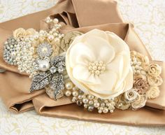 Bridal Sash Wedding Sash in Champagne Ivory and Oyster by SolBijou, $205.00
