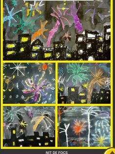 Plastiquem: Festa Major Another way to do fireworks and cityscape New Year's Crafts, Crafts For Kids, Arts And Crafts, School Art Projects, Projects To Try, Guy Fawkes Night, Art Haus, Fireworks Craft, New Year Art