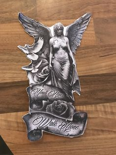 My Art, Design and cutting Holy Tattoos, Time Tattoos, Tattoos For Guys, Angel Tattoo Designs, Tattoo Designs Men, Forearm Tattoos, Body Art Tattoos, Religion Tattoos, Mexican Art Tattoos