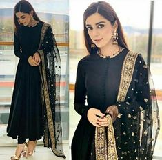 Buy this beautiful black suit @she_designer_official Fabric : Georget suit ( length 53 ) Semi stich upto 44'' Row silk bottom ( unstitch ) Net duppata with heavy embroidery work Price : 1950/- Shipping extra