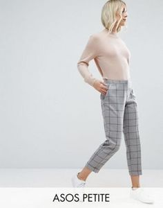 ASOS PETITE Cigarette Trousers in Grid Check