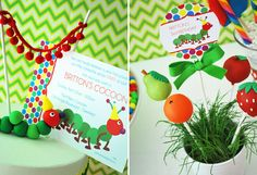 Very Hungry Caterpillar party by WH Hostess, Fruit Cake Pops by Sweet Lauren Cakes