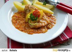 Novohradský vepřový plátek recept - TopRecepty.cz Chili, Soup, Treats, Recipes, Ground Meat, Sweet Like Candy, Goodies, Chile
