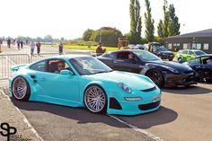 Tiffany blue porsche 911 with deep dish wheels