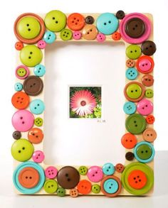 Make with thick craft sticks and red/pink buttons. Card stock/construction paper. Or instead of buttons use white and red paint with kid fingerprints to use around frame edges.
