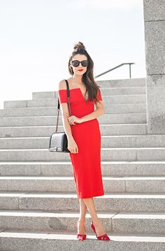 Hello Fashion | Red off the shoulder midi dress+red lace pumps+black shoulder bag. Summer event outfit 2016