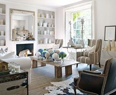 Family-Friendly English Country House - Traditional Home. Love the storage in white.
