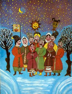 levkonoe   Recent Entries Ukrainian Christmas, Ukrainian Art, Naive Art, Christmas Illustration, Winter Season, Ukraine, Christmas Holidays, Folk Art, Fairy Tales