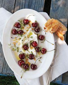 Sweet Cherries with Robiola Cheese - Martha Stewart Recipes http://www.marthastewart.com/357858/sweet-cherries-robiola-cheese#