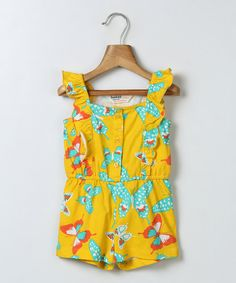 Beebay Yellow Butterfly Ruffle Romper - Infant, Toddler & Girls   zulily