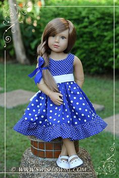 Blue polka dot dress for kidz n cats dolls by swish swirl kidzncats swishandswirl Baby Dress Design, Baby Girl Dress Patterns, Little Girl Dresses, American Doll Clothes, Girl Doll Clothes, Girl Dolls, Ag Dolls, Barbie Clothes, Baby Frocks Designs