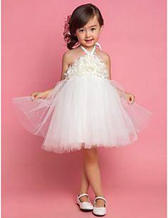 Flower Girl Dress Tea-length Satin/Tulle Princess Sleeveless... – USD $ 24.99