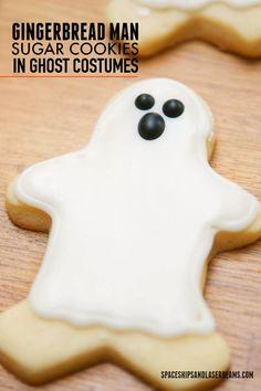 Gingerbread Man Sugar Cookies in Ghost Costumes