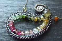 Tourmaline Paisley Necklace by weirdlywired.