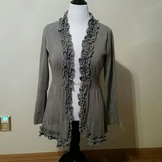 Ruffled open front cardigan Soft ruffles on a beautiful gray knit cardigan. Ribbing at waist adds to the femininity of this great layering piece. Priced to sell! V Cristina  Sweaters Cardigans