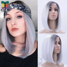 Short Straight Black Bob Silver Grey Ombre Ignite Synthetic Lace Front Wig hand tied Beyonce inspired kanekalon Futura hair wig