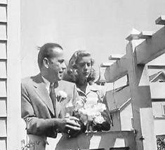 Humphrey Bogart & Lauren Bacall at their wedding on May 21, 1945. [GIF]