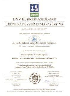 Certifikáty   Kúpele Turčianske Teplice