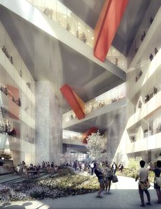 OMA Reveals Design for Mixed-Use Tower in Tokyo,View into Upper Atrium. Image Courtesy of OMA Oma Architecture, Architecture Graphics, Architecture Drawings, University Architecture, Classical Architecture, Tokyo Design, Rem Koolhaas, High Rise Building, Architectural Presentation