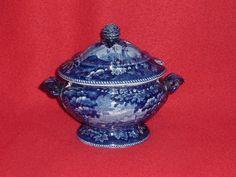 Historical Staffordshire Dark Blue Italian Scenery Gravy Tureen By Wood Ca.1825