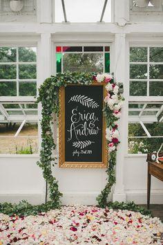 floral wedding welcome sign for garden wedding