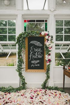 floral wedding welcome sign for garden wedding