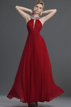 VIP Evening Dress *Crystal stones around the neckline *Plunging V-cut bust and back *Ruched waist *zip on the back *100% real silk fabric *Full-length