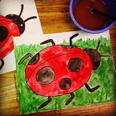 Ladybug art--9-14 yo; with neighborhood kids we used greeting card blank stock and colored pencils.
