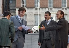 Run through: The actors were seen practicing their lines as they rehearsed a scene  Read more: http://www.dailymail.co.uk/tvshowbiz/article-2328931/Matthew-Macfadyen-Jerome-Flynn-begin-filming-grizzly-scenes-Ripper-Street-series-two.html#ixzz2U2ODYkwr Follow us: @MailOnline on Twitter | DailyMail on Facebook