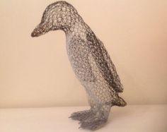 Penguin wire sculpture, ornament, garden figurine