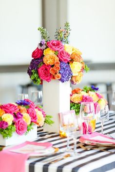 Gorgeous floral centerpieces & tablescape from a Modern Floral + Art Tween Birthday Party Party Centerpieces, Floral Centerpieces, Floral Arrangements, Bat Mitzvah Centerpieces, Quinceanera Centerpieces, Art Floral, Party Decoration, Wedding Decorations, Quince Decorations