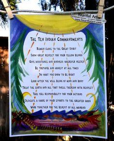 beautiful american indian sayings | TEN INDIAN COMMANDMENTS 8x11 Poster Native American Wisdom Heartful ...
