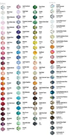 Swarovski bicones (4mm) are well known worldwide.They are frequently used in all kind of beadwork project from embroidery to beading. Discover colors and names! Choose the ones you want to use in y...