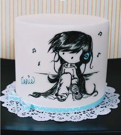 pastel pintado, niña con audifonos