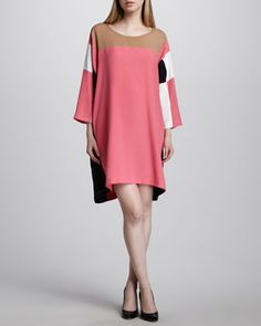 Colorblock Square-Print Dress by DKNY at Neiman Marcus. Sale $131.00