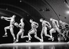Bob Cousy  1956  Bob Cousy, the original Houdini of the hardwood, demonstrates the behind-the-back dribble in this multiple exposure shot.