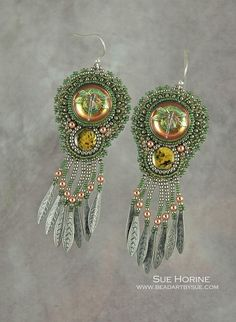 Czech Glass Dragonfly Button with Paua Shell  - bead embroidered earrings by Sue Horine (sedonaskye on Etsy)