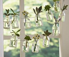A string of little reclaimed glass bottles that you can hang decoratively to either uses as unique bud vases or fill with water to create a sparkling effect that drives flies and other pests away (clear bags of water hung up work too btw if interested).