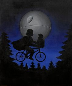 """Star wars poster, laser print of my original painting: """"E.T. reloaded"""", Spielberg's masterpiece parody"""