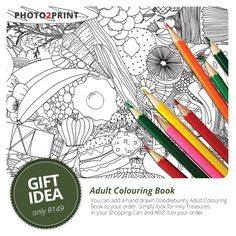 Gift idea: Add a quality Adult Colouring Book to your order. Simply look for Inky Treasures in your Shopping Cart and ADD it to your order. A4 Portrait Softcover single sided 34 illustrations. Inky Treasures - Hand drawn by artist Sarah Allen. #colouringbook #giftidea #photo2print