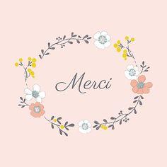 Carte de remerciement Couronne de fleurs photo rose