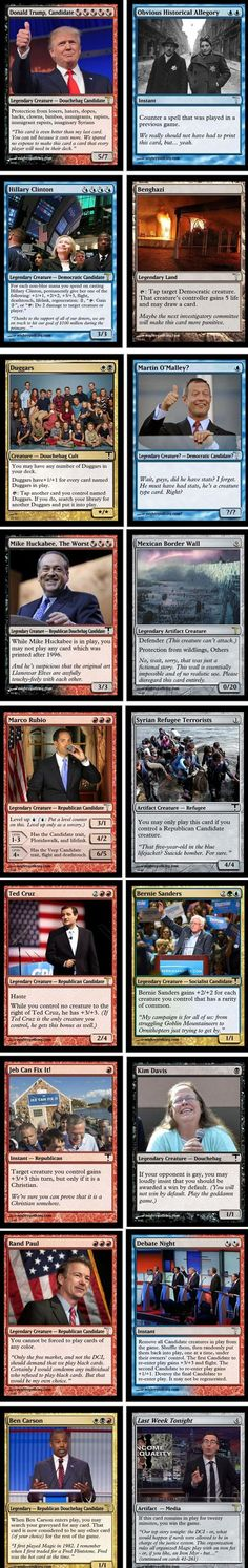 Geeky Art of The Day: The 2016 Election is So Much Better as 'Magic: The Gathering' Cards - Cheezburger