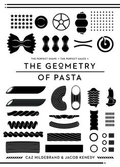 I think it's clever that a lineale geometric typeface Neutraface is chosen as a headline for the book that focuses on the geometry as well, but that of pasta — a brilliant way to reinforce the theme.